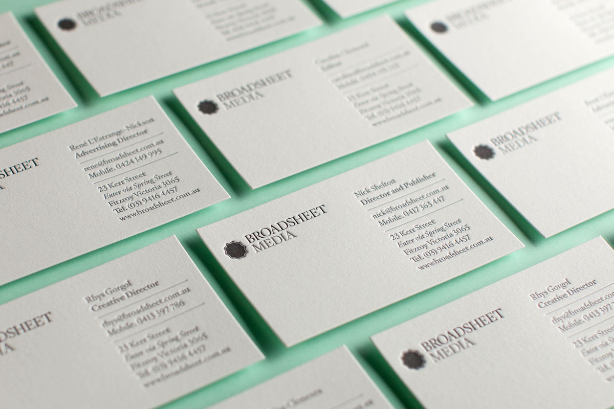 The company you keep broadsheet business cards broadsheet letterpress business cards1 magicingreecefo Gallery
